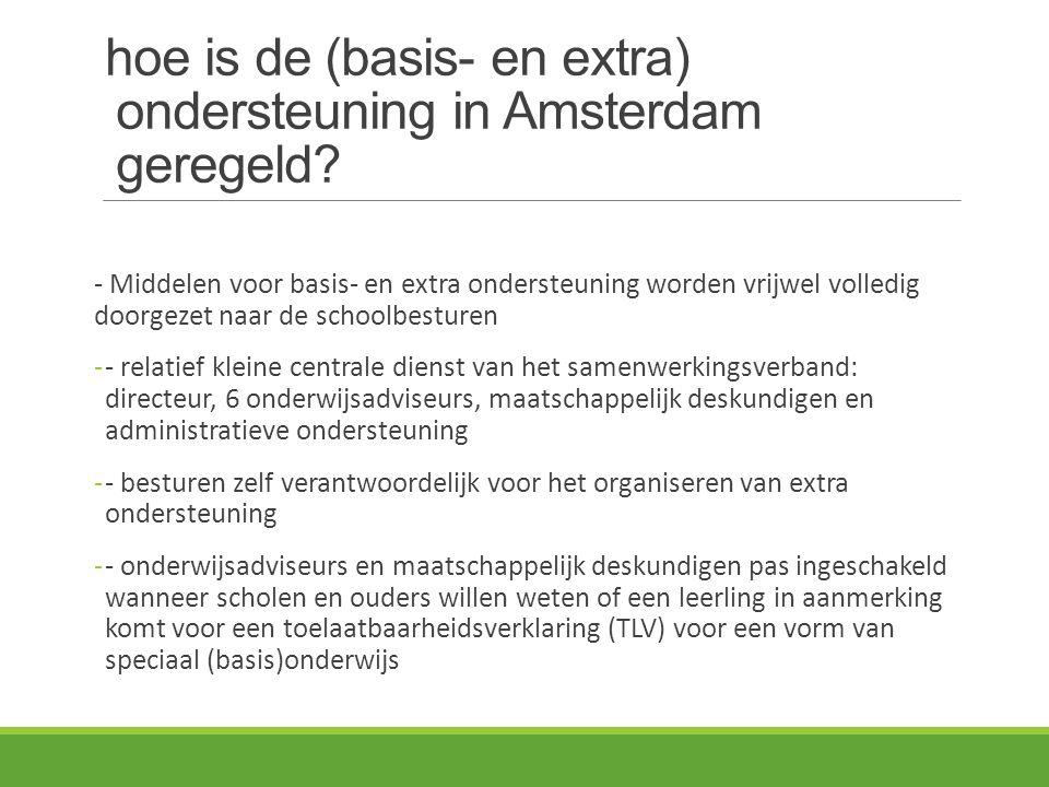 hoe is de (basis- en extra) ondersteuning in Amsterdam geregeld? - Middelen voor basis- en extra ondersteuning worden vrijwel volledig doorgezet naar