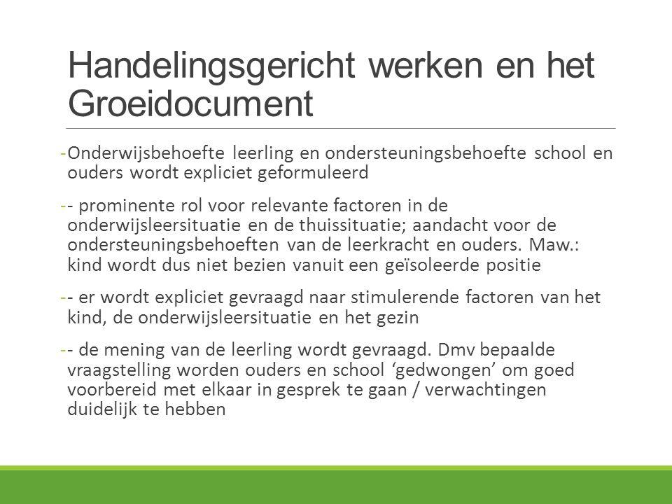 Handelingsgericht werken en het Groeidocument -Onderwijsbehoefte leerling en ondersteuningsbehoefte school en ouders wordt expliciet geformuleerd -- p
