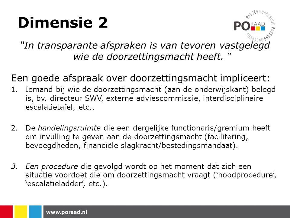 Dimensie 2 In transparante afspraken is van tevoren vastgelegd wie de doorzettingsmacht heeft.