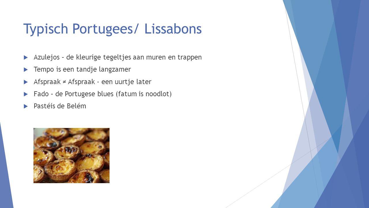 Typisch Portugees/ Lissabons  Azulejos – de kleurige tegeltjes aan muren en trappen  Tempo is een tandje langzamer  Afspraak ≠ Afspraak - een uurtje later  Fado – de Portugese blues (fatum is noodlot)  Pastéis de Belém