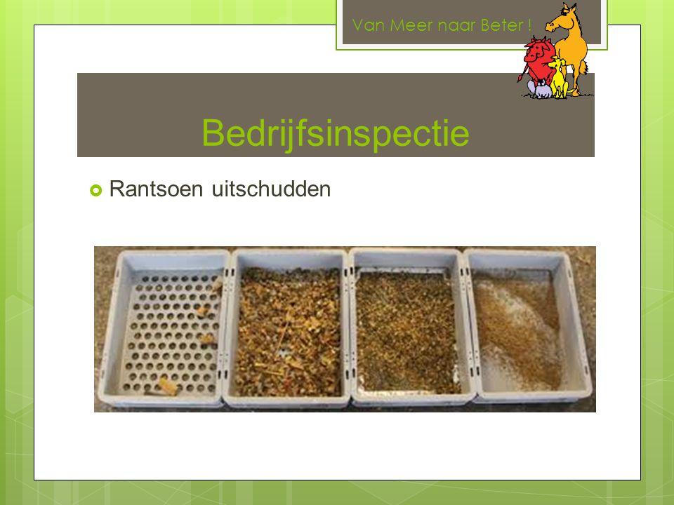Bedrijfsinspectie  Rantsoen uitschudden Van Meer naar Beter !