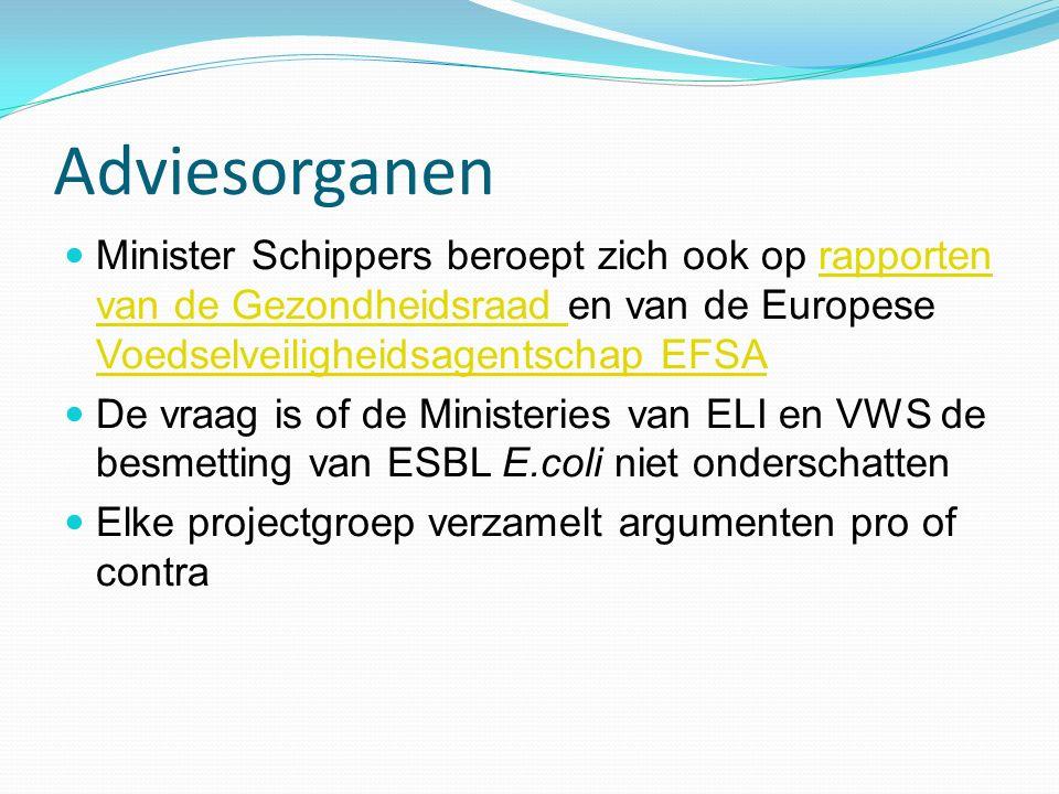 Adviesorganen Minister Schippers beroept zich ook op rapporten van de Gezondheidsraad en van de Europese Voedselveiligheidsagentschap EFSArapporten va