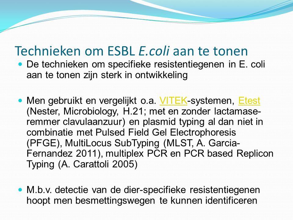 Technieken om ESBL E.coli aan te tonen De technieken om specifieke resistentiegenen in E. coli aan te tonen zijn sterk in ontwikkeling Men gebruikt en