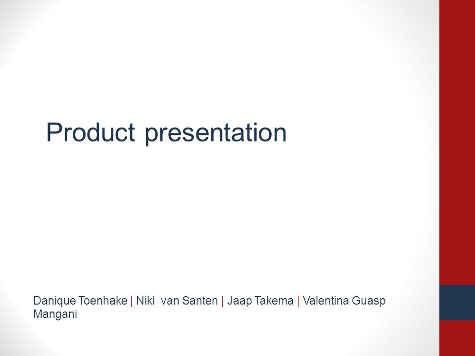 Product presentation Danique Toenhake | Niki van Santen | Jaap Takema | Valentina Guasp Mangani