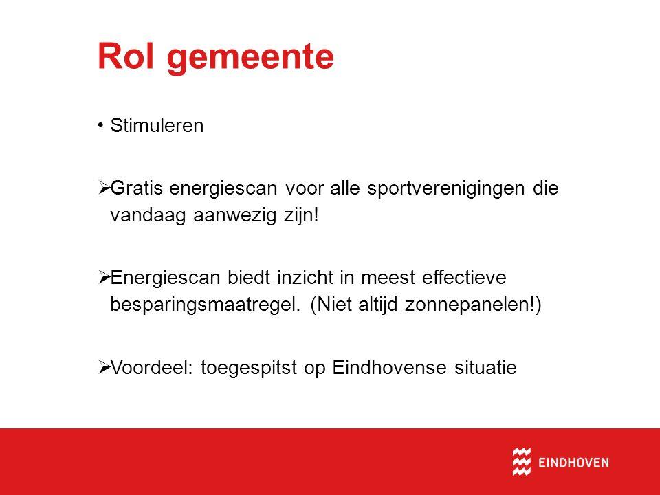 Rol gemeente Stimuleren  Gratis energiescan voor alle sportverenigingen die vandaag aanwezig zijn!  Energiescan biedt inzicht in meest effectieve be