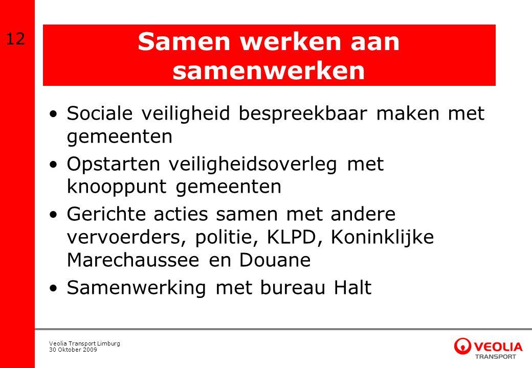 Veolia Transport Limburg 30 Oktober 2009 Samen werken aan samenwerken Sociale veiligheid bespreekbaar maken met gemeenten Opstarten veiligheidsoverleg