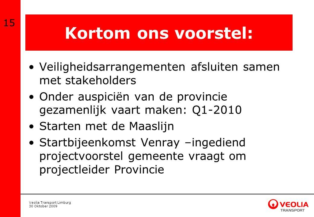 Veolia Transport Limburg 30 Oktober 2009 Kortom ons voorstel: Veiligheidsarrangementen afsluiten samen met stakeholders Onder auspiciën van de provinc