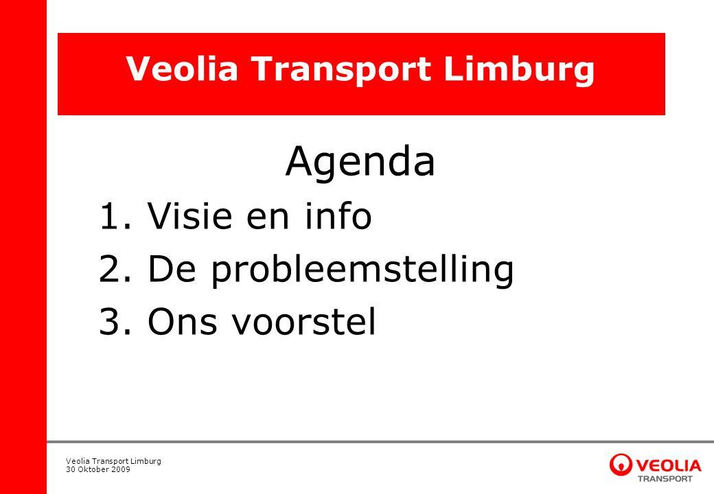 Veolia Transport Limburg 30 Oktober 2009 Veolia Transport Limburg Agenda 1. Visie en info 2. De probleemstelling 3. Ons voorstel