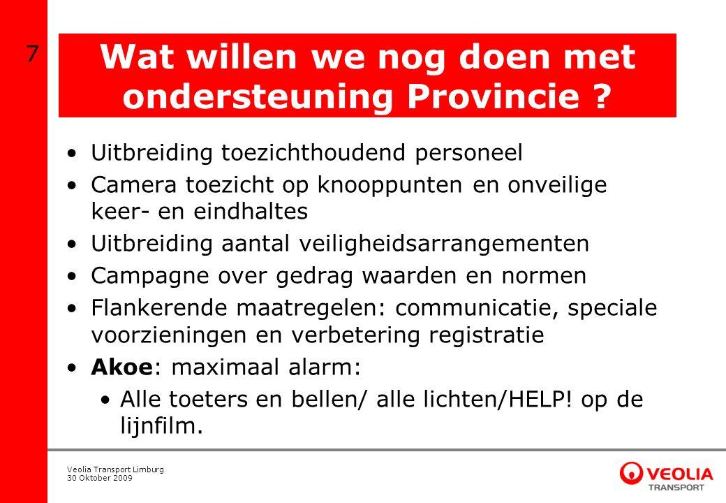 Veolia Transport Limburg 30 Oktober 2009 Probleemstelling De situatie in en rondom stations: 1.