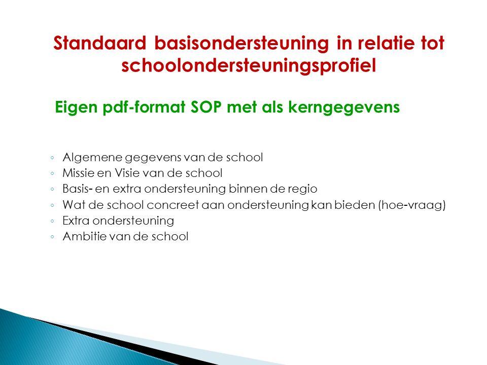 Eigen pdf-format SOP met als kerngegevens ◦ Algemene gegevens van de school ◦ Missie en Visie van de school ◦ Basis- en extra ondersteuning binnen de