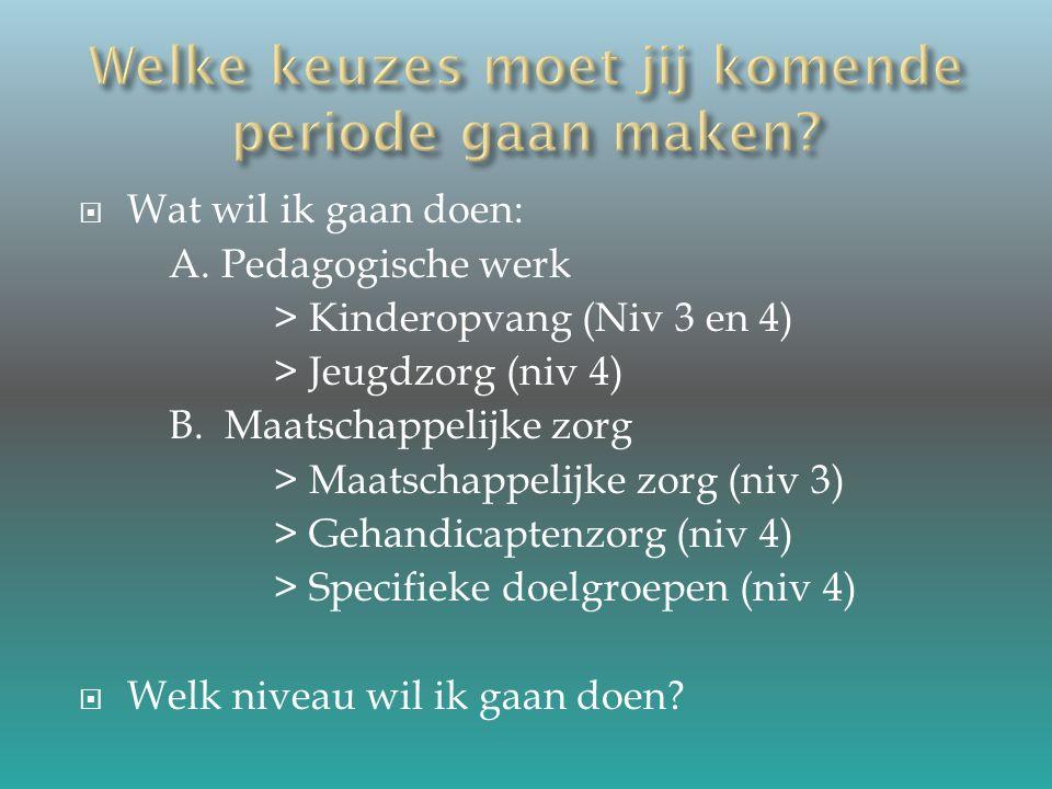  Gewone, gezonde kinderen = Niveau 3 Werkvelden: Peuterspeelzaal, Kinderdagverblijf en Buitenschoolse opvang.