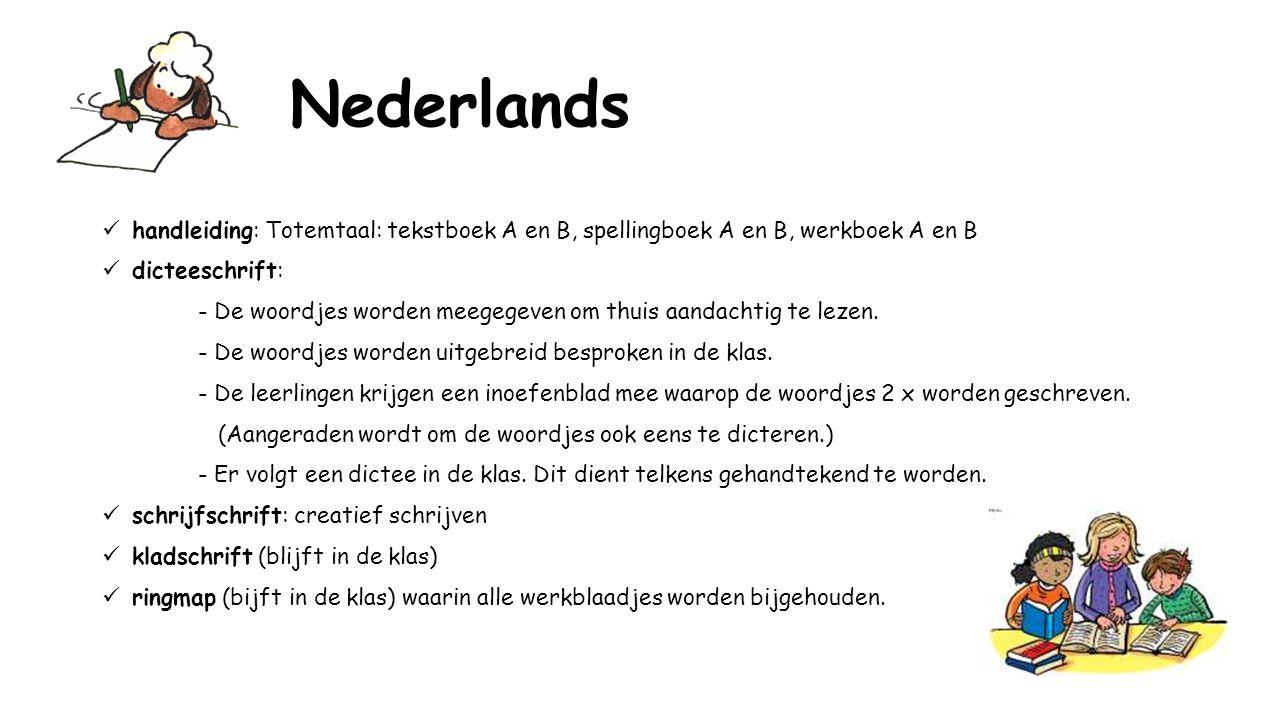 Nederlands handleiding: Totemtaal: tekstboek A en B, spellingboek A en B, werkboek A en B dicteeschrift: - De woordjes worden meegegeven om thuis aandachtig te lezen.