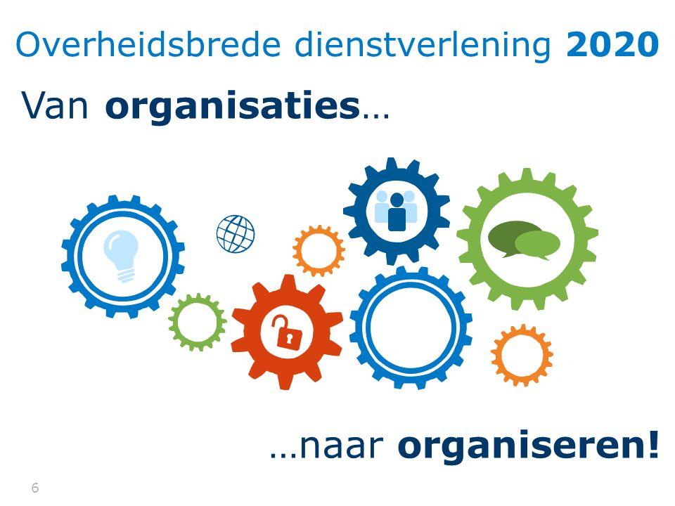 66 Overheidsbrede dienstverlening 2020 Van organisaties… …naar organiseren!