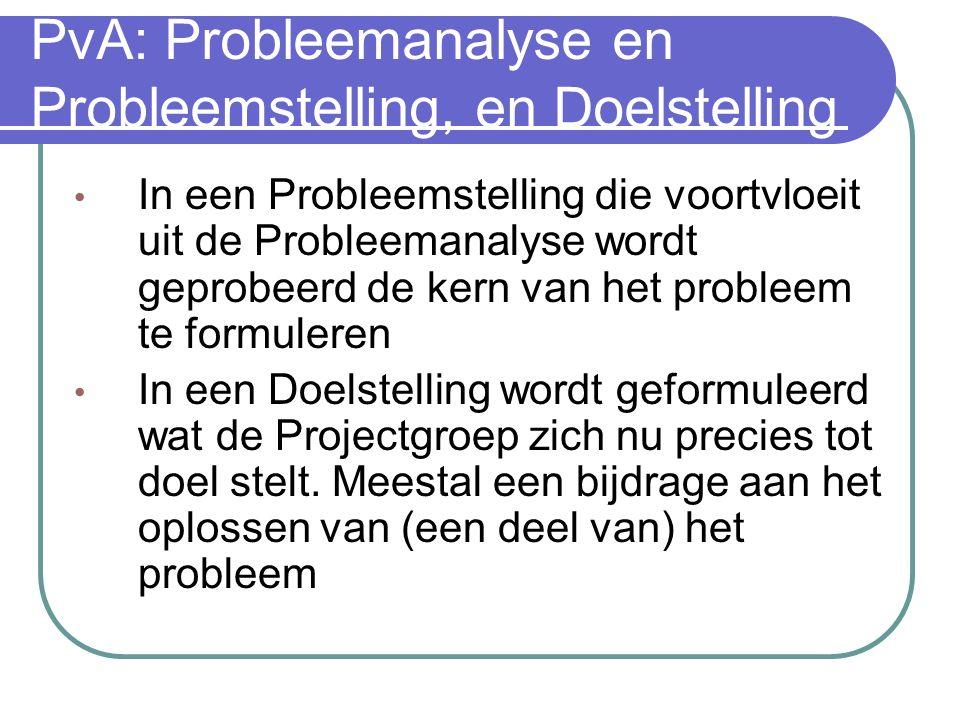 PvA: Probleemanalyse en probleemstelling In een probleemanalyse worden a. de in de opdracht aangegeven problemen in kaart gebracht, met de ernst van d