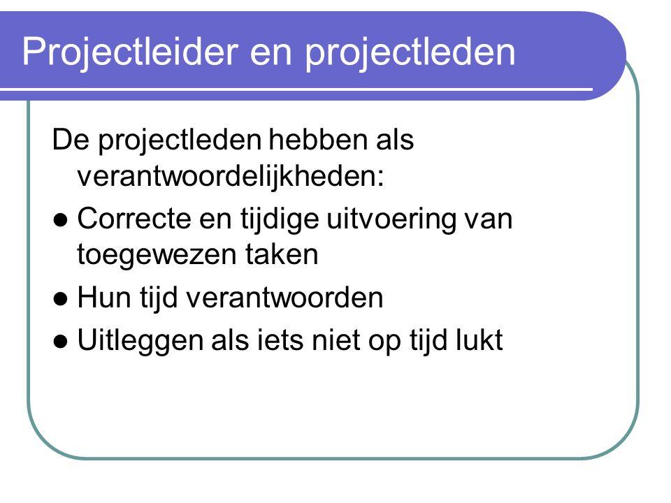 Projectleider en projectleden De projectleden moeten Ook initiatief-rijk en doelgericht kunnen werken Een positief werkklimaat creëren Omgaan met conf