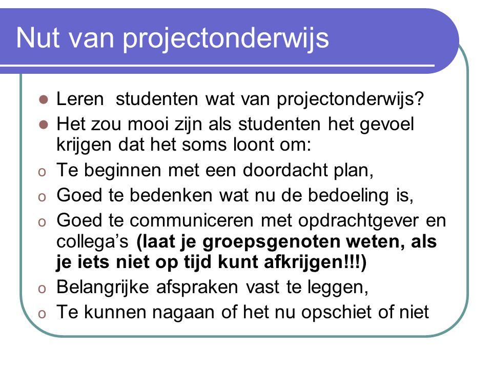 De resultaten De projectgroepen komen vaak met goede en mooie eindverslagen en presentaties Er wordt flink wat ervaring opgedaan met projectmatig werk