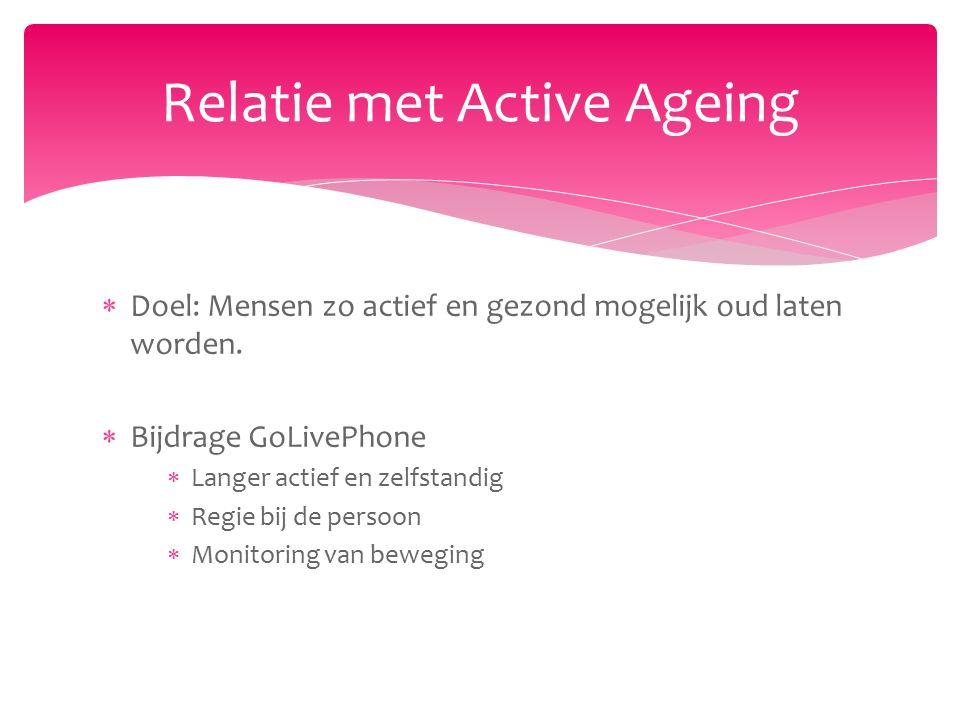  Doel: Mensen zo actief en gezond mogelijk oud laten worden.  Bijdrage GoLivePhone  Langer actief en zelfstandig  Regie bij de persoon  Monitorin