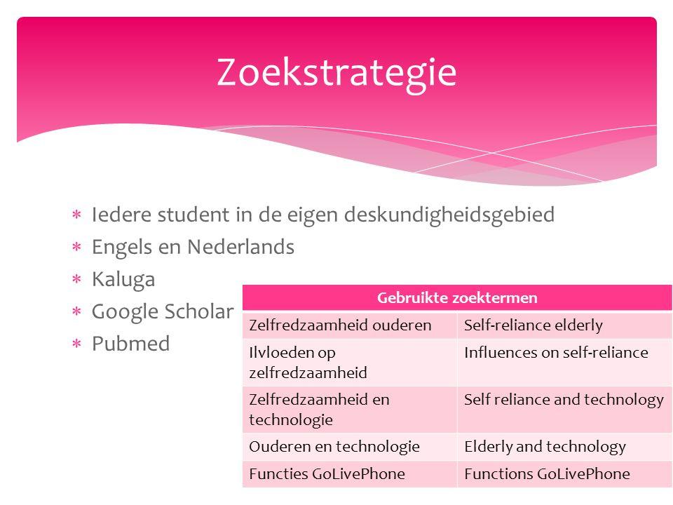  Iedere student in de eigen deskundigheidsgebied  Engels en Nederlands  Kaluga  Google Scholar  Pubmed Zoekstrategie Gebruikte zoektermen Zelfred