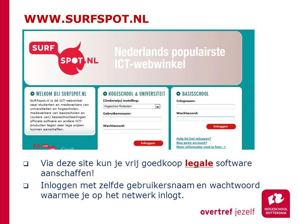 WWW.SURFSPOT.NL  Via deze site kun je vrij goedkoop legale software aanschaffen!  Inloggen met zelfde gebruikersnaam en wachtwoord waarmee je op het