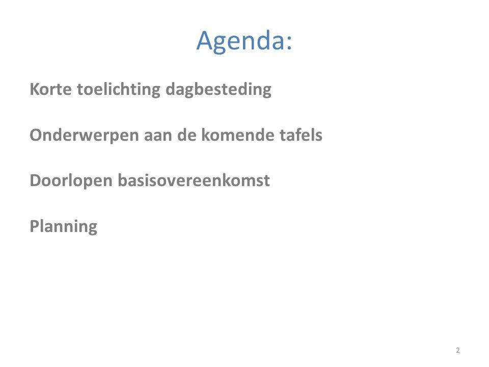 Agenda: 2 Korte toelichting dagbesteding Onderwerpen aan de komende tafels Doorlopen basisovereenkomst Planning