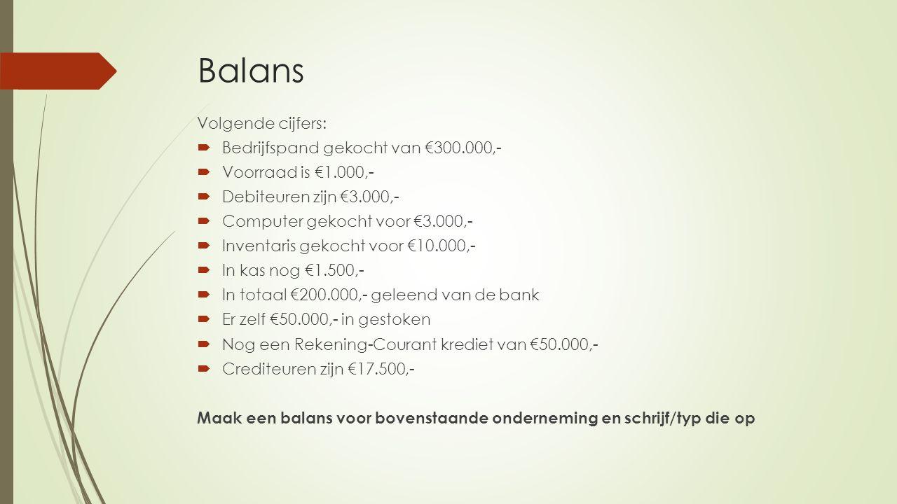 Balans Volgende cijfers:  Bedrijfspand gekocht van €300.000,-  Voorraad is €1.000,-  Debiteuren zijn €3.000,-  Computer gekocht voor €3.000,-  In