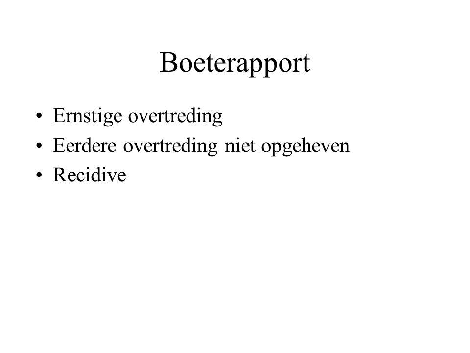 Boeterapport Ernstige overtreding Eerdere overtreding niet opgeheven Recidive