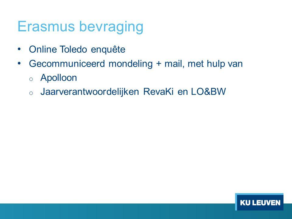 Erasmus bevraging Online Toledo enquête Gecommuniceerd mondeling + mail, met hulp van o Apolloon o Jaarverantwoordelijken RevaKi en LO&BW