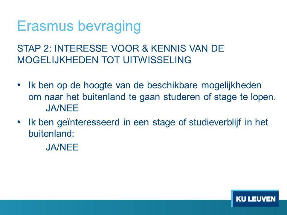 Erasmus bevraging STAP 2: INTERESSE VOOR & KENNIS VAN DE MOGELIJKHEDEN TOT UITWISSELING Ik ben op de hoogte van de beschikbare mogelijkheden om naar het buitenland te gaan studeren of stage te lopen.