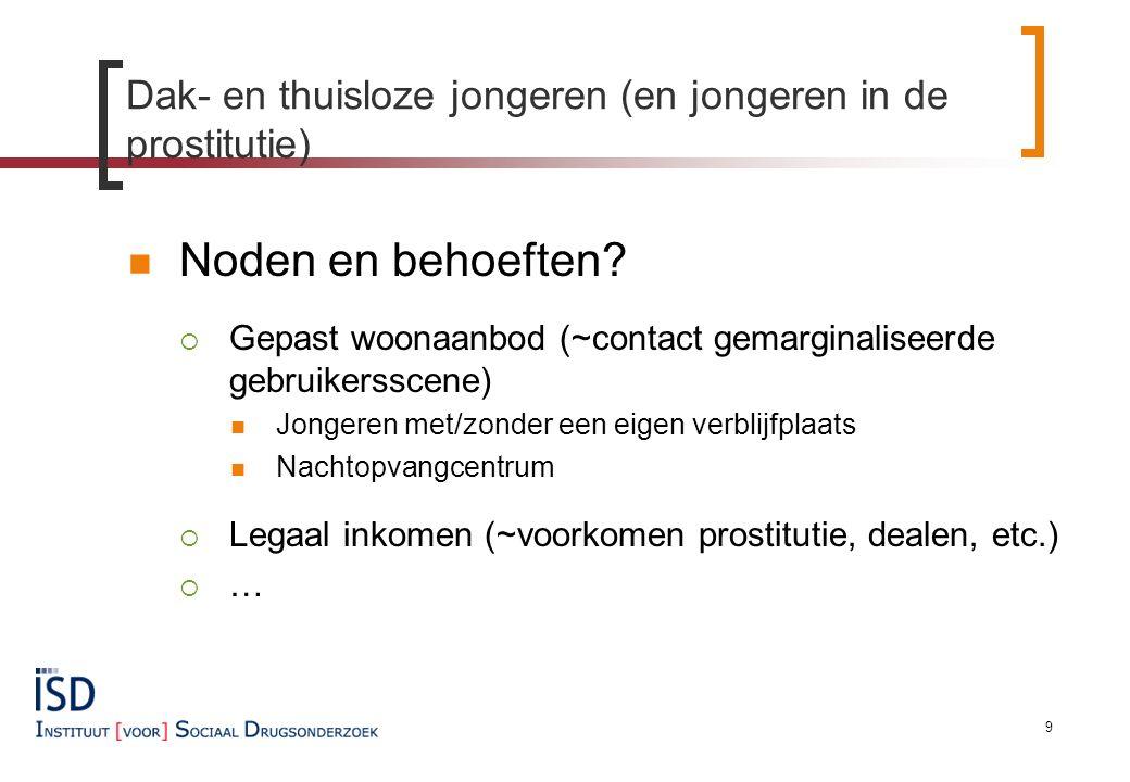 Dak- en thuisloze jongeren (en jongeren in de prostitutie) Noden en behoeften.
