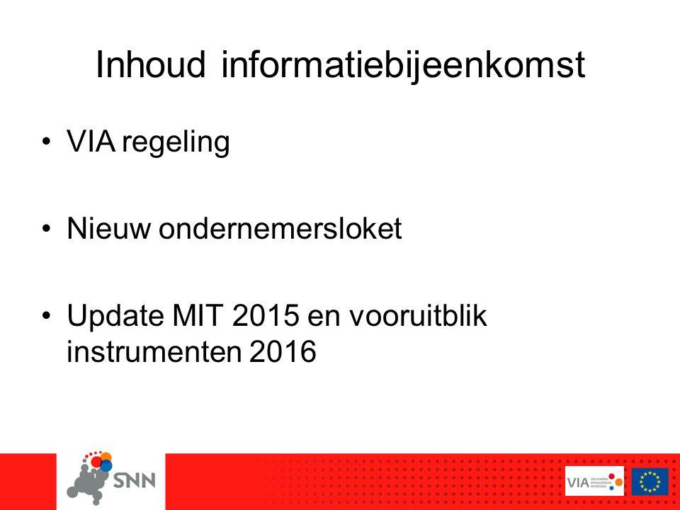 Inhoud informatiebijeenkomst VIA regeling Nieuw ondernemersloket Update MIT 2015 en vooruitblik instrumenten 2016