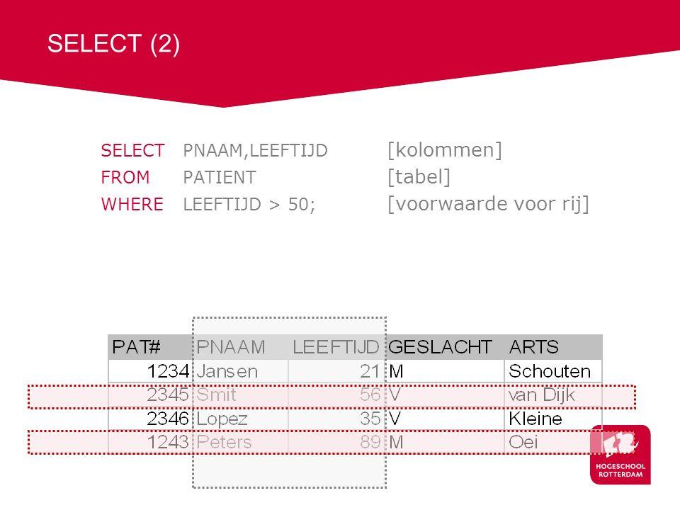 SELECT (2) SELECTPNAAM,LEEFTIJD [kolommen] FROM PATIENT [tabel] WHERE LEEFTIJD > 50; [voorwaarde voor rij]