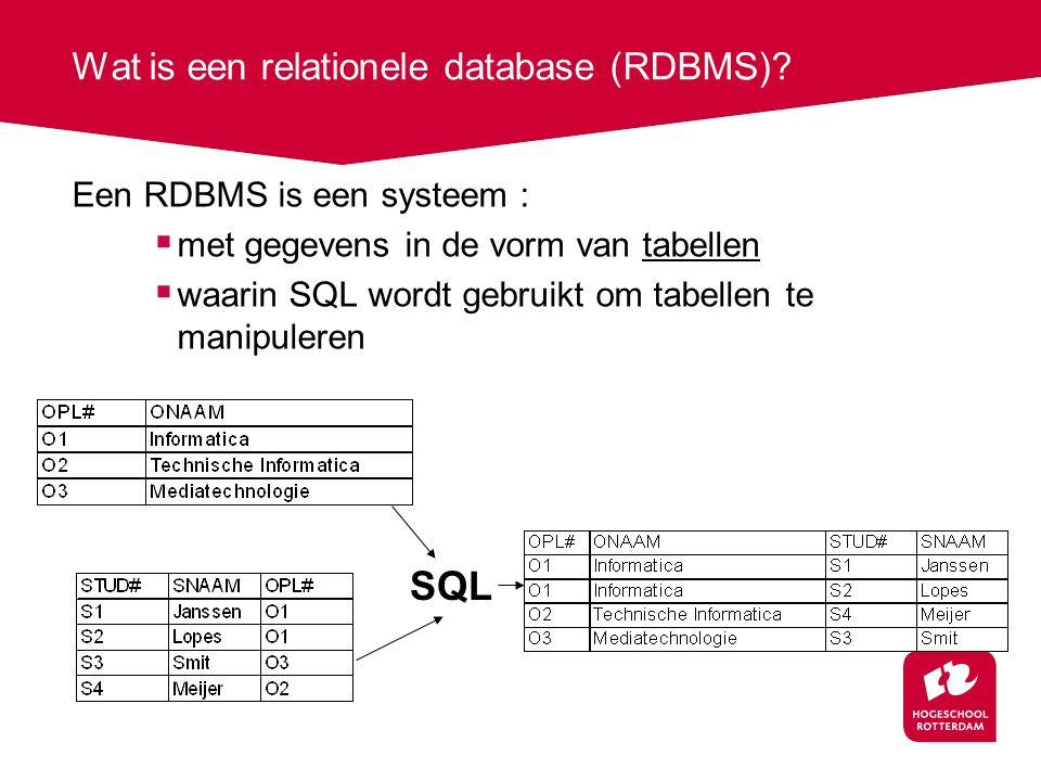 Wat is een relationele database (RDBMS).