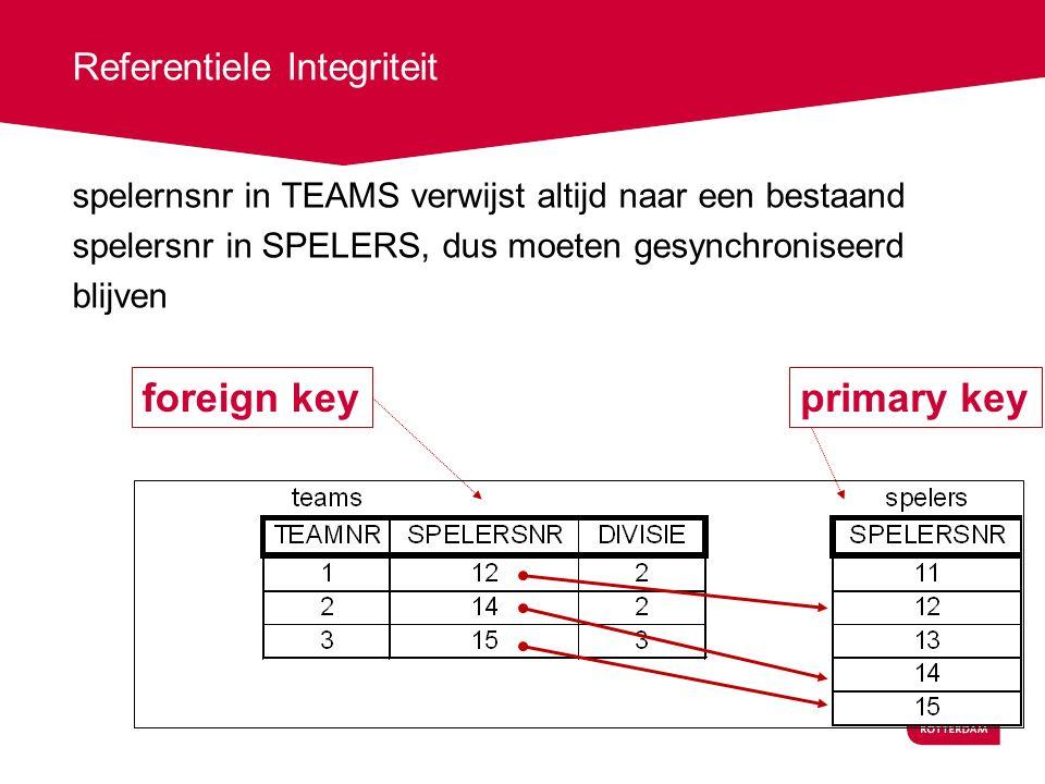 Referentiele Integriteit spelernsnr in TEAMS verwijst altijd naar een bestaand spelersnr in SPELERS, dus moeten gesynchroniseerd blijven primary keyforeign key