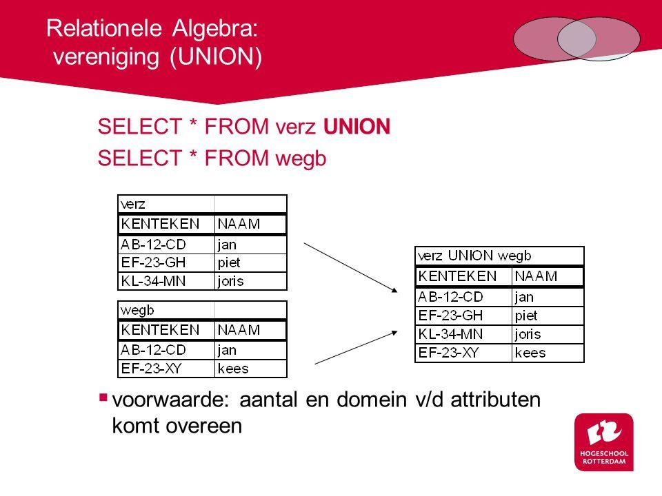 Relationele Algebra: verschil (EXCEPT) SELECT * FROM verz EXCEPT SELECT * FROM wegb  volgorde is van belang .