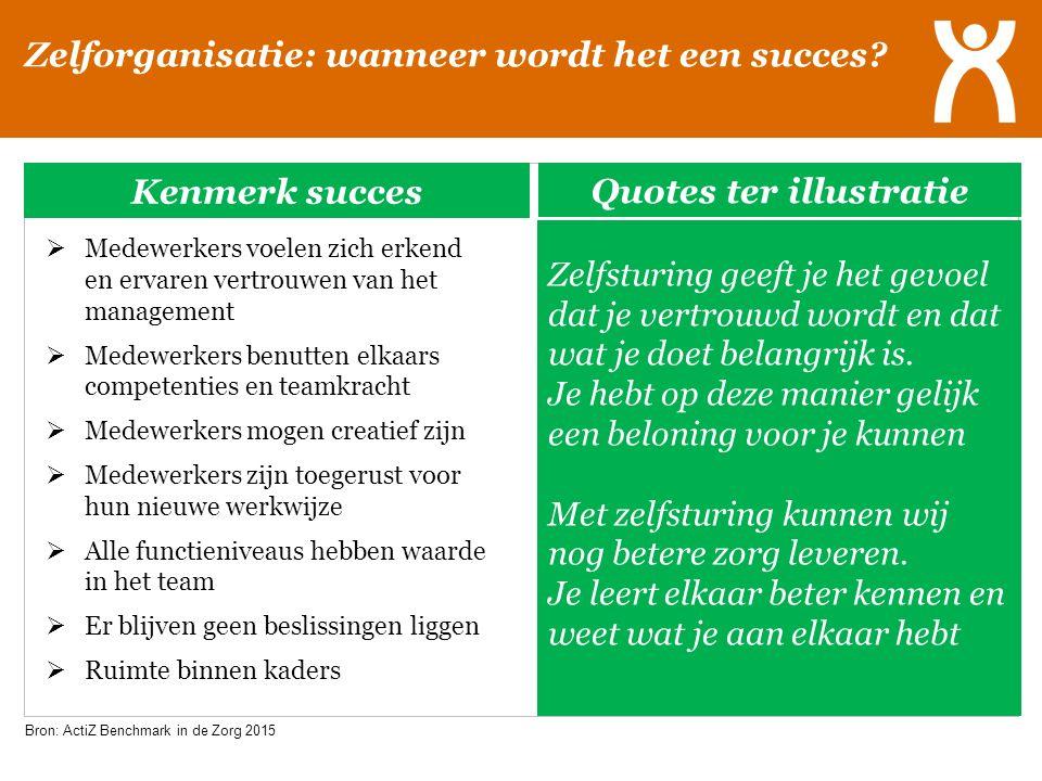 Zelforganisatie: wanneer wordt het een succes? Kenmerk succes  Medewerkers voelen zich erkend en ervaren vertrouwen van het management  Medewerkers