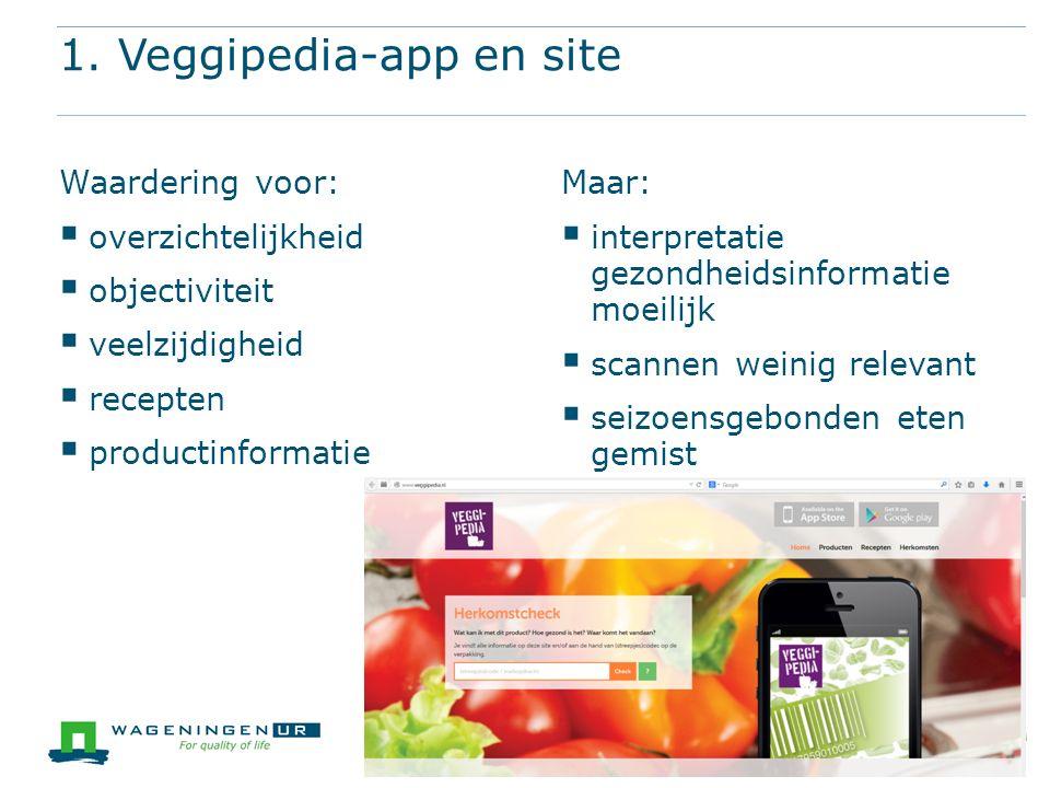 A SMARTer Greenport 1. Veggipedia-app en site Waardering voor:  overzichtelijkheid  objectiviteit  veelzijdigheid  recepten  productinformatie Ma