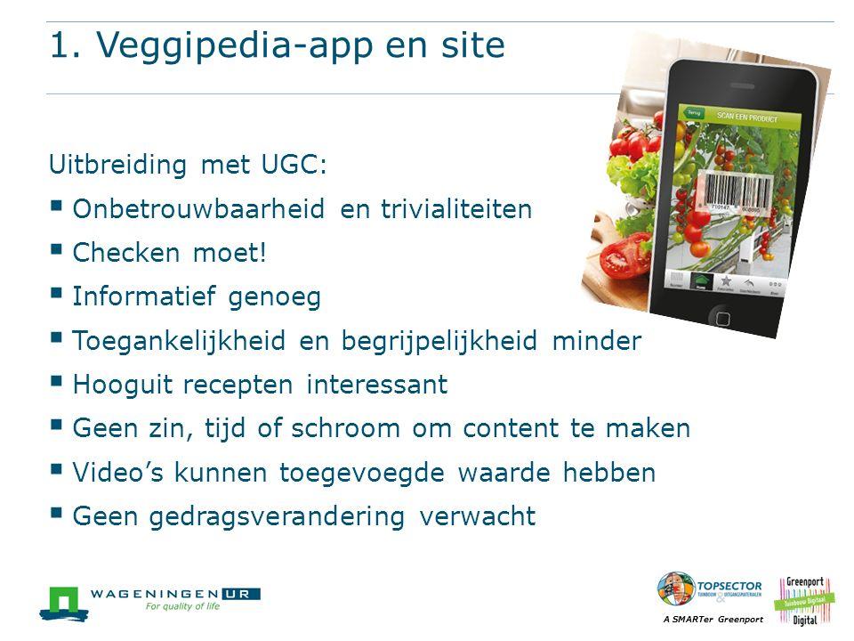 A SMARTer Greenport 1. Veggipedia-app en site Uitbreiding met UGC:  Onbetrouwbaarheid en trivialiteiten  Checken moet!  Informatief genoeg  Toegan