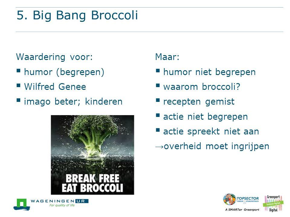 A SMARTer Greenport 5. Big Bang Broccoli Waardering voor:  humor (begrepen)  Wilfred Genee  imago beter; kinderen Maar:  humor niet begrepen  waa