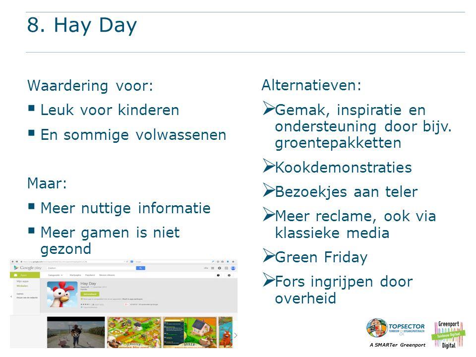 A SMARTer Greenport 8. Hay Day Waardering voor:  Leuk voor kinderen  En sommige volwassenen Maar:  Meer nuttige informatie  Meer gamen is niet gez