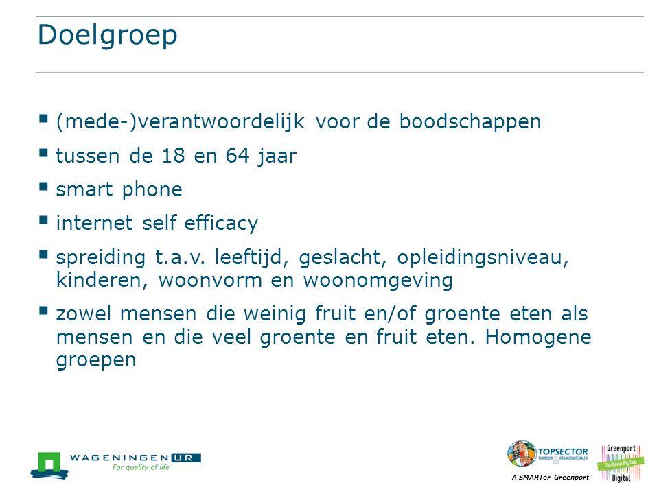A SMARTer Greenport Doelgroep  (mede-)verantwoordelijk voor de boodschappen  tussen de 18 en 64 jaar  smart phone  internet self efficacy  spreiding t.a.v.