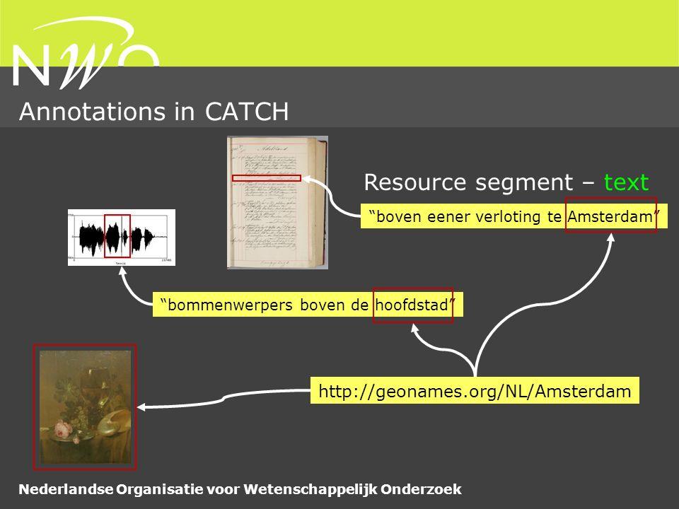 Nederlandse Organisatie voor Wetenschappelijk Onderzoek Annotations in CATCH boven eener verloting te Amsterdam Resource segment – text http://geonames.org/NL/Amsterdam bommenwerpers boven de hoofdstad
