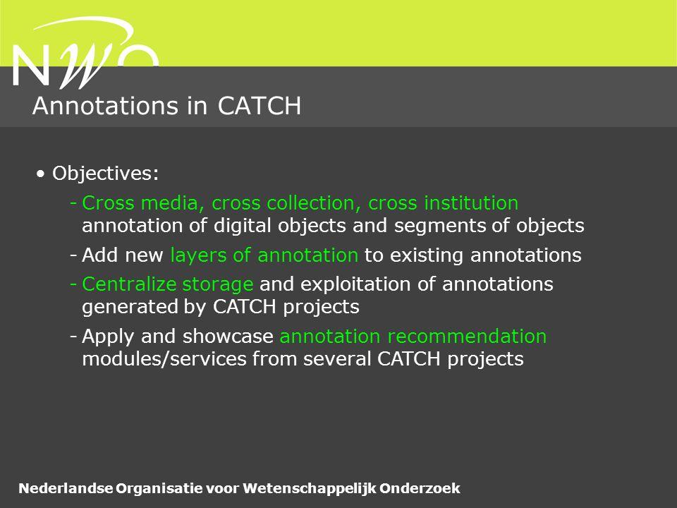 Nederlandse Organisatie voor Wetenschappelijk Onderzoek Annotations in CATCH some text description Resource Primitive value (string, date, number,…) http://www.beeldengeluid.nl/GTAA#Subject_kunst_ Semantic value property