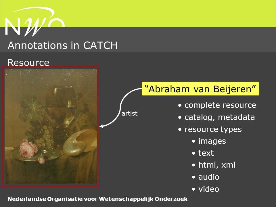 Nederlandse Organisatie voor Wetenschappelijk Onderzoek Annotations in CATCH very much Resource segment – sound-video choral:transcription