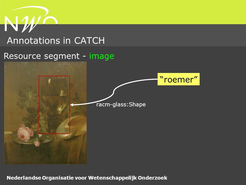 Nederlandse Organisatie voor Wetenschappelijk Onderzoek Annotations in CATCH roemer Resource segment - image racm-glass:Shape