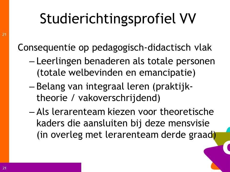 21 Studierichtingsprofiel VV 21 Consequentie op pedagogisch-didactisch vlak – Leerlingen benaderen als totale personen (totale welbevinden en emancipa