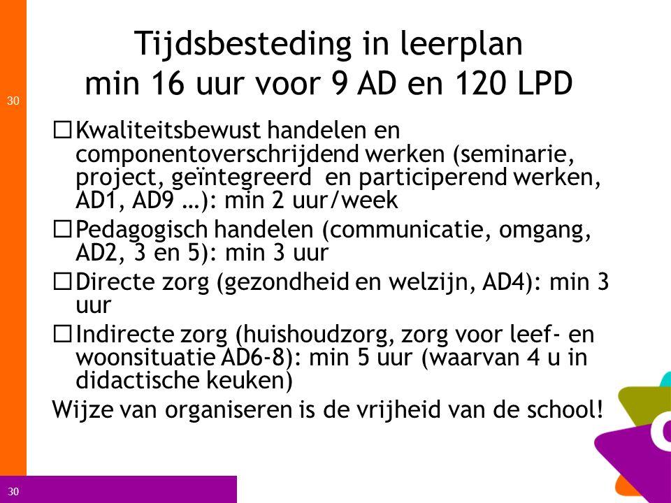 30 Tijdsbesteding in leerplan min 16 uur voor 9 AD en 120 LPD 30  Kwaliteitsbewust handelen en componentoverschrijdend werken (seminarie, project, ge