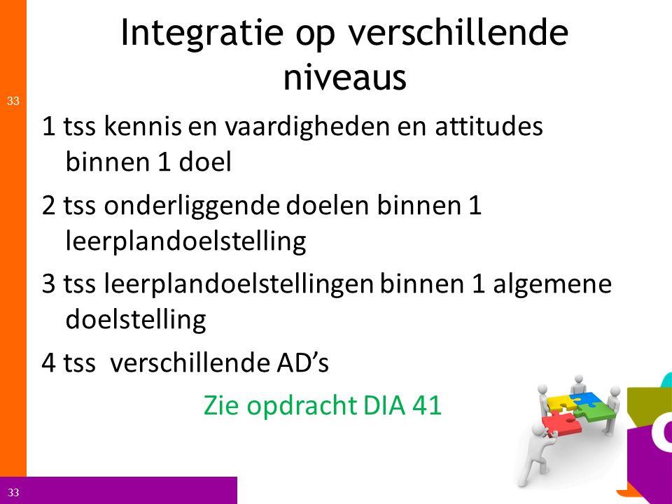 33 Integratie op verschillende niveaus 33 1 tss kennis en vaardigheden en attitudes binnen 1 doel 2 tss onderliggende doelen binnen 1 leerplandoelstel