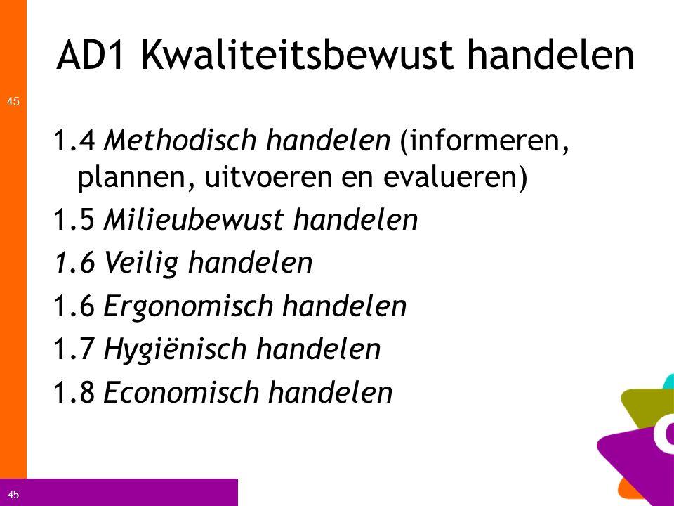 45 AD1 Kwaliteitsbewust handelen 45 1.4 Methodisch handelen (informeren, plannen, uitvoeren en evalueren) 1.5 Milieubewust handelen 1.6 Veilig handele