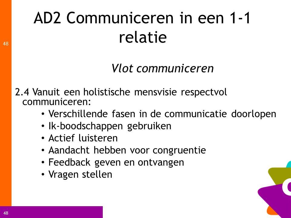 48 AD2 Communiceren in een 1-1 relatie 48 Vlot communiceren 2.4 Vanuit een holistische mensvisie respectvol communiceren: Verschillende fasen in de co