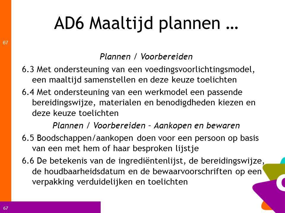 67 AD6 Maaltijd plannen … 67 Plannen / Voorbereiden 6.3 Met ondersteuning van een voedingsvoorlichtingsmodel, een maaltijd samenstellen en deze keuze